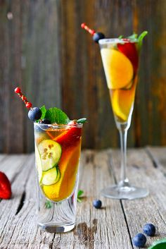 Pimm's Cup with fruit and ginger beer