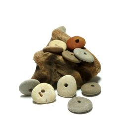 Beach Stones Pebble Rocks Natural Jewelry Beads Grey Gray Cairn Spacers Artisan Supporting Beads Soft Palette Gecko Palette TUMBLEWEED by StoneMe on Etsy