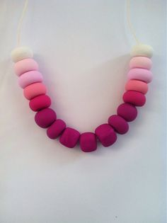 Handmade polymer clay beaded necklace Pink ombre on Etsy, $25.00 AUD