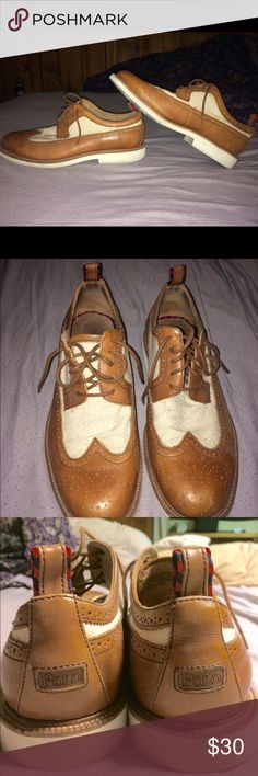 Polo Ralph Lauren dress shoes Size 11 Brown and white polo Ralph Lauren dress shoes in overall really good condition has a tad bit of wear but nothing serious at all Polo by Ralph Lauren Shoes Oxfords & Derbys