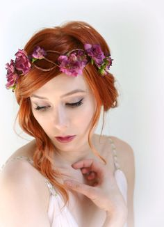 Bridal flower crown rose crown flower headpiece by gardensofwhimsy