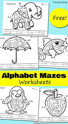 FREE alphabet printables for preschoolers to practice letter recognition. No-prep letter find worksheets to find and dot each letter of the alphabet. Great to use with do-a-dot markers. Free Alphabet Printables, Printable Mazes, Alphabet Crafts, Preschool Printables, Alphabet Activities, Kindergarten Worksheets, Preschool Activities, Preschool Kindergarten, Preschool Curriculum