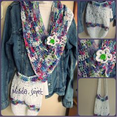 crocheted triangle scarf and bag made of beautiful cotton thread Lana Grossa Groove