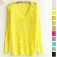 Free shipping 2015 New Candy Color Small Twist V neck Long sleeved Hollow Smock Women Pullover Sweater-in Pullovers from Women's Clothing & Accessories on Aliexpress.com | Alibaba Group
