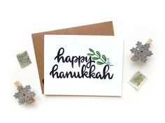 Happy Hanukkah Mistletoe Small Greeting Card  Handwritten
