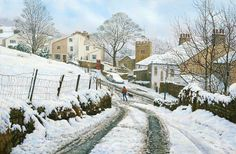 Newchurch in Pendle, Winter - Lancashire. Painting by Keith Melling