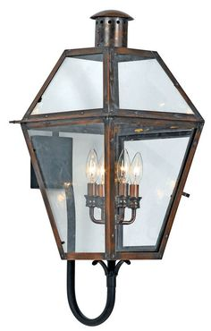 Features:  -Outdoor wall lantern.  -Clear beveled glass panels.  -Americana design style.  -Copper penny finish that over the course of a year changes to an aged copper finish.  -Rue De Royal collecti