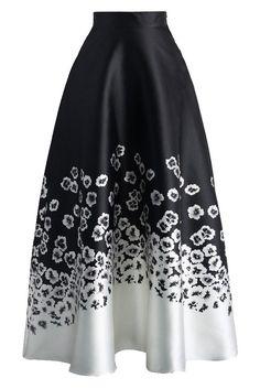 Jupes Longues Hiver Taille Haute Noir Blanc Fleurie Imprime MB65017-1 – Modebuy.com