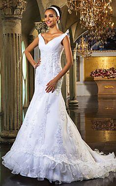 tromba / sirena off-the-spalla organza abito da sposa