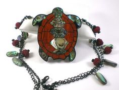 Turtle Necklace Abalone Shell Necklace Nautical Bib Necklace Ooak | antiquorama - Jewelry on ArtFire