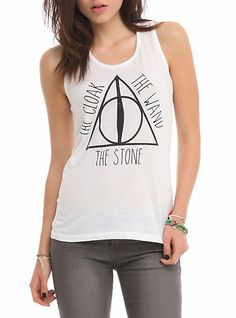 Harry Potter Deathly Hallows Girls Tank Top - cuz i'm a nerd Harry Potter Items, Harry Potter Deathly Hallows, Harry Potter Shirts, Harry Potter Style, Harry Potter Outfits, Harry Potter Fan Art, Hot Topic, Athletic Tank Tops, Girls