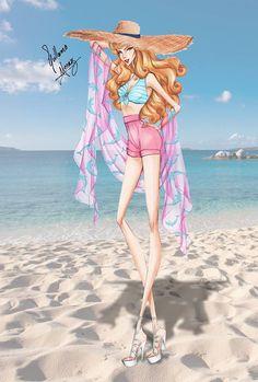 fashionillustr.quenalbertini: Aurora Strolling on the Beach! Disney Princess Summer Collection 2015 by Guillermo Meraz