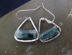 Silver Triangle Earrings with Green Ocean Jasper  I fused fine silver triangles and wire-wrapped the perfect pieces of green ocean jasper to the