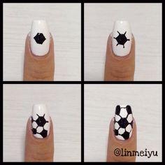 Soccer Ball Nail Tutorial