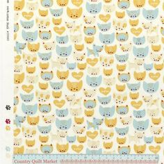 Per 1//4 Metre Moda Fabric Woof Woof Meow Pitter Patter Gold