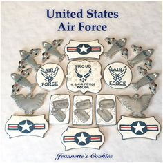 United States Air Force Cookies 🇺🇸 Thanks for your order. I hope your brother enj - jeannettescookies Military Retirement Parties, Retirement Cakes, Retirement Planning, Happy Retirement, Royal Icing Cookies, Cupcake Cookies, Sugar Cookies, Military Cupcakes, Veterans Day Celebration