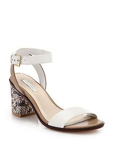 99e9001064fe1 Cole Haan - Cambon Leather   Snake-Embossed Leather Sandals