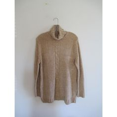 Vintage 1980s 80s Solid Tan Knit Thick Roll Down Turtleneck Sweater Top Blouse Sz Medium