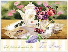 TEA-Party-SHOWER-Birthday-Anniversary-Party-INVITATIONS-Flat-Cards-Env