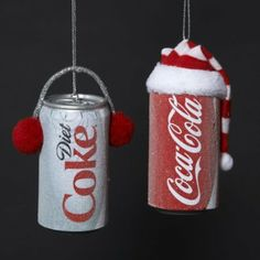 Frosted Coca-Cola & Diet Coke Can Christmas Ornaments