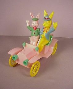 1950's Rosbro Easter Candy Container .... hard plastic Bunny Car