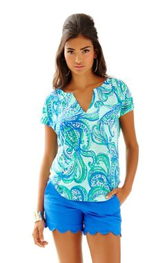 Duval Notch Neckline Linen Top - Lilly Pulitzer Poolside Blue Keep It Current