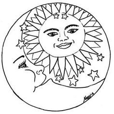 Tattoo mandala moon adult coloring 26 ideas for 2019 Sun Coloring Pages, Adult Coloring Book Pages, Printable Coloring Pages, Coloring Books, Fairy Coloring, Kids Coloring, Coloring Sheets, Illustration, Sun Moon