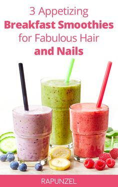 Who else wants to kick-start their day with a beautifying glass of DIY nail and hair smoothie? #smoothies #breakfast #hairgrowth http://www.simplyrapunzel.com