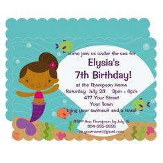 Mermaid Birthday Invitations Custom Kids Mermaid Birthday Party Card