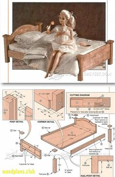 doll bed plans wooden toy and projects woodarchivistcom barbie furnituredollhouse furniture n Miniature Furniture, Dollhouse Furniture, Furniture Plans, Barbie Doll House, Barbie Dolls, Diy Dollhouse, Dollhouse Miniatures, Barbie Bedroom, Accessoires Barbie