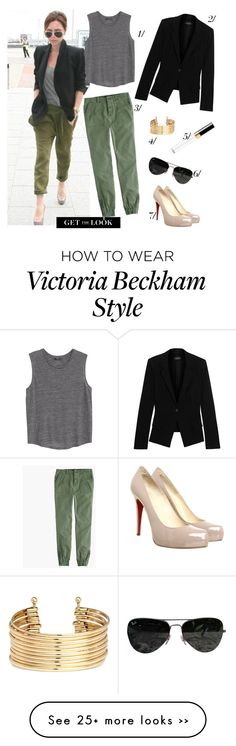 """""""Get The Look: Posh"""" by mplusk on Polyvore featuring Victoria Beckham, J.Crew, MANGO, Donna Karan, Ray-Ban, Christian Louboutin and H&M"""