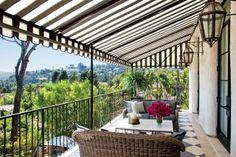 Actress Ellen Pompeo's Mediterranean-Style Villa in Los Angeles Backyard Canopy, Garden Canopy, Canopy Outdoor, Canopy Tent, Outdoor Decor, Window Canopy, Ikea Canopy, Hotel Canopy, Patio Ideas