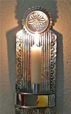 Punched tin wall sconce made from recycled tin cans | Flickr - Photo Sharing!