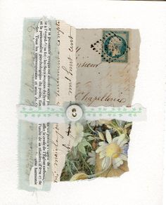 original collage with button on paper contemporary by HeleneGArt