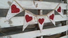 Glitter Heart Burlap Banner, Valentines Burlap Banner, Photo Prop, Rustic Wedding Decor