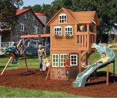 Set Playset Playground Outdoor Swing Backyard Kids Swingset Play Wooden Gym Kit