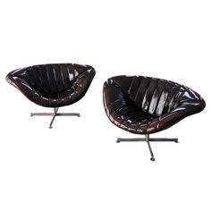 "2 Beautiful Shiny Rohe ""Lips"" Arm Chairs, Deep Dark Burgundy, Anno ca1970"