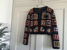 Peter Jensen Crochet 70s Vintage Style Size S Granny Square Blanket Jacket #PeterJensen
