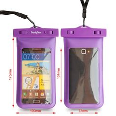 """Amazon.com: DandyCase Waterproof Case for Apple iPhone 5, Galaxy S4, HTC One, iPod Touch 5 - Also fits other Large Smartphones up to 5.3"""" Including Galaxy S3, BlackBerry Z10/Q10, HTC One, HTC One X/X+, Droid RAZR/MAXX, Nexus 4, EVO 4G LTE, Droid Incredible, LG Optimus G, Nokia Lumia, Droid DNA, Windows Phone 8X - IPX8 Certified to 100 Feet [Retail Packaging by DandyCase] (Purple): Cell Phones & Accessories"""