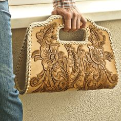 Really cool handmade leather products from California:) by LeatherCA Leather Carving, Leather Tooling, Leather Clutch, Leather Purses, Leather Handbags, Leather Bags Handmade, Handmade Bags, Handmade Bracelets, Cowhide Purse