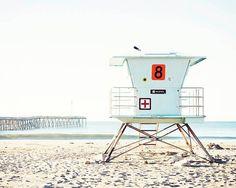Ventura California Pale Blue White Coastal Beach by BreeMadden