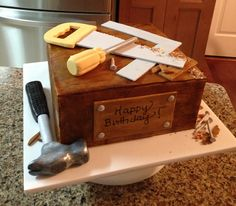 Woodworking Cake - Fondant covered wood grain cake with gumpaste tools.