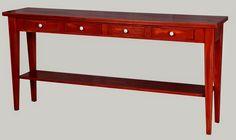 Punaiseksi maalattu sivupöytä, 160x35 cm, tervaleppää. juvi.fi