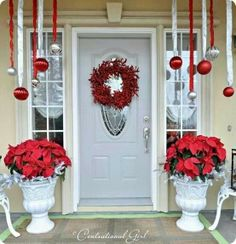 classy red/white front porch