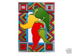 Chili Peppers Art Glass Panel Wall Window Hanging Suncatcher 14 x 10
