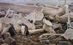 Robert Bateman Gentoo Penguins and Whale Bones