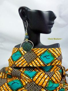 West African Styling -- Exquisite!!! EwaMadam at Etsy Konkonsa --Ankara Polymer Clay Sterling Earrings