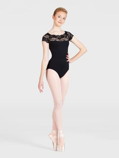 Would love to see Nastia wear this one. Add a touch of elegance to your dance ensemble with Gaynor Minden's lacey short sleeve leotar