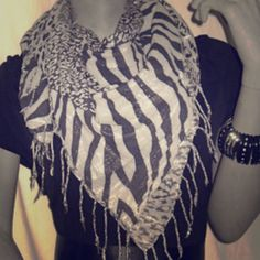 Animal Print Shimmery Scarf Zebra/Leopard print shimmery scarf. Excellent condition. Accessories Scarves & Wraps