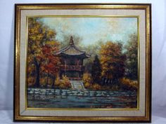 http://stores.ebay.com/mariasantiqueandvintage 1960s Signed Lim Yim Original Korean Oil Canvas Painting Scenic Gazebo Asian #Asian